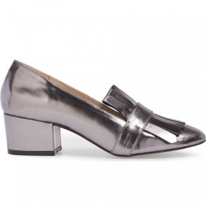 Dark Silver Fringe Patent Leather Block Heel Loafers for Women