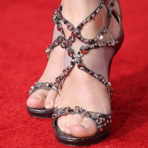 Dark Grey Rhinestone Heels Mesh Stiletto Heel Sandals
