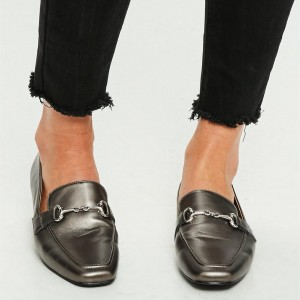 Dark Grey Square Toe Flats Office Shoes Loafers for Women