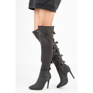 Dark Grey Suede Bow Long Boots Pointy Toe Over-the-knee Stiletto Boots