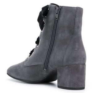 Dark Grey Suede Lace up Block Heels Ankle Booties