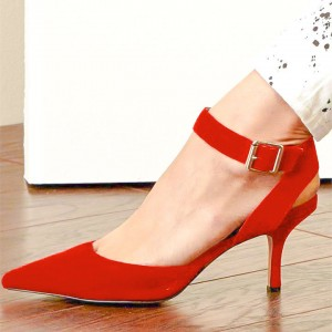 Orange Red Suede Ankle Strap Heels Pointy Toe Pumps