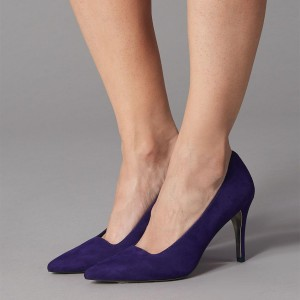 Dark Purple Stiletto Heels Suede Pointy Toe Pumps