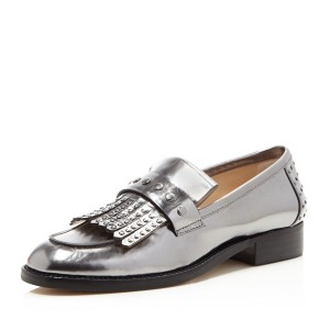 Dark Silver Round Toe Flats Fringe Patent Leather Loafers for Women