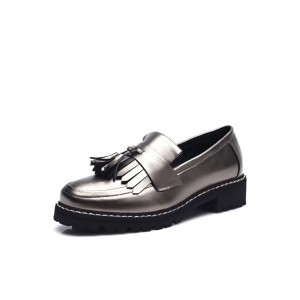 Dark Silver Square Toe Fringe and Tassel Loafers for Women