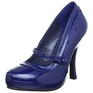 Darkblue Round Toe Mary Jane Shoes Patent Leather Stiletto Heels Pumps