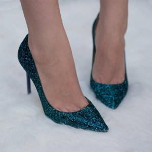 Deep Blue Stiletto Heels Glitter Low-Cut Upper Pointy Toe Pumps