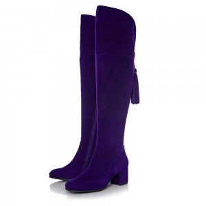 Deep Purple Long Boots Chunky Heels Suede Tassels Over-the-knee Boots
