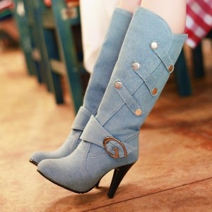 Denim Boots Round Toe Fashion Chunky Heels for Women
