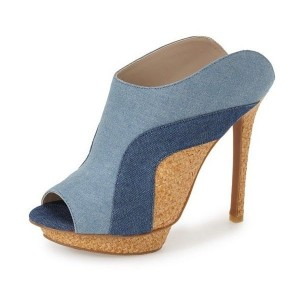 Denim Joint Platform Peep Toe Stiletto Heel Mules