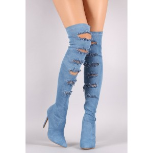 Women's Jeans Denim Boots Stiletto Heels Over-The- Knee Boots by FSJ