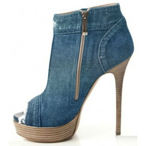 Women's Blue Denim Boots Peep Toe Stiletto Heels Platform boots