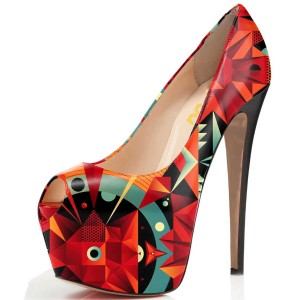 Women's Chic Patterns Printed Floral Heels Stiletto Heel Pumps