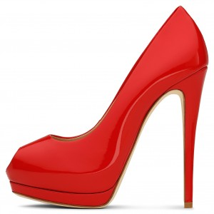 Red Patent Leather Key Hole Platform Stiletto Heels Pumps