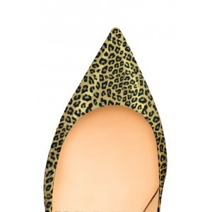 Bright Green Leopard-Print Kitten-heel Pumps