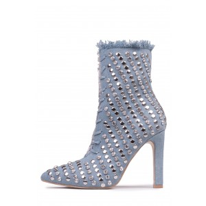 Denim Studded Stiletto Boots Pointy Toe Ankle Boots