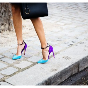 Esther Blue Ankle Strap Heels Pointy Toe D'orsay Pumps for Women