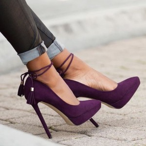 Purple Ankle Strap Heels Pointy Toe Tassels Platform Pumps