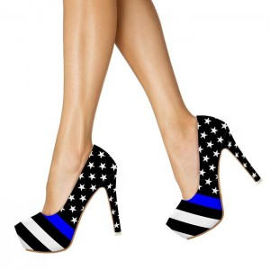 Captain America Platform Heels Stiletto Pumps for Halloween