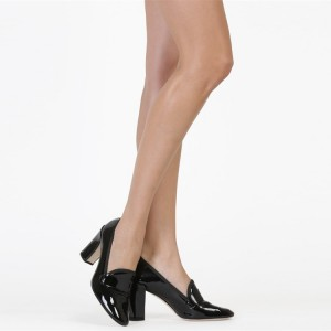 Fashion Black Chunky Heels Pointy Toe Patent  Leather Pumps