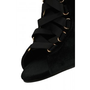 Fashion Black Lace up Boots Velvet Peep Toe Slingback Ankle Boots