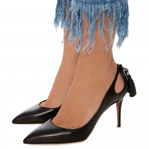 Fashion Black Stiletto Heels Pointy Toe Shoes Leather Tassels Pumps