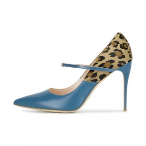 Fashion Blue Leopard Print Heels Stiletto Heel Mary Jane Pumps