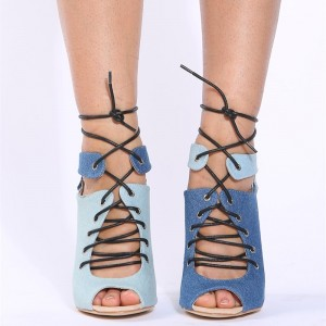 Fashion Blue Denim Boots Peep Toe Stiletto Heels Ankle Lace up Boots
