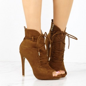 Fashion Brown Lace up Boots Peep Toe Suede Ankle Boots For Women