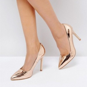 Rose Gold Shoes Metallic Heels Stiletto Pumps for Office Lady
