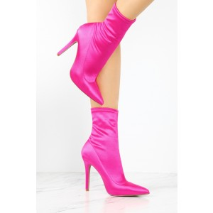 Fashion Coral Satin Stiletto Boots Elastic Pointy Toe Ankle Boots