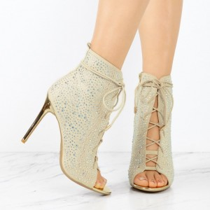 Fashion Ivory Lace up Boots Peep Toe Rhinestone Ankle Boots For Women