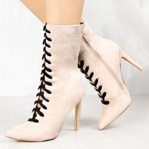 Fashion Ivory Lace up Boots Soft Suede Pointy Toe Stiletto Heel Boots