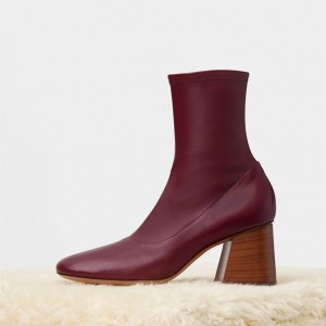Fashion Maroon Chunky heel Boots Leather Pointy Toe Ankle Boots