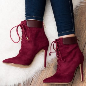Fashion Maroon Suede Lace Up Boots Pointy Toe Stilettos Ankle Boots