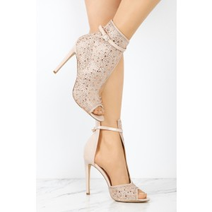 Nude Cut Out Boots Rhinestone Hotfix Peep Toe Stiletto Heel Booties