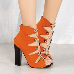 Orange Suede Lace up Boots Chunky Heel Peep Toe Ankle Booties