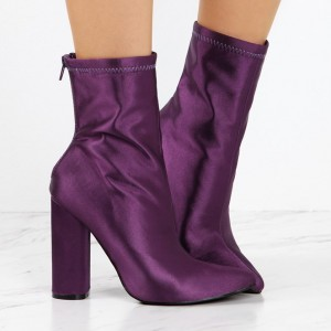Fashion Purple Chunky Heel Boots Satin Pointy Toe Ankle Boots