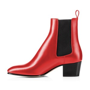 Fashion Red Chelsea Boots Patent Leather Ankle Chunky Heel Boots