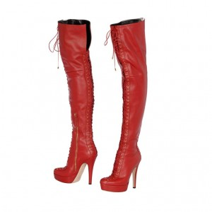 Fashion Red Lace up Platform Heels Thigh High Long Boots