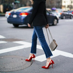 Fashion Red Stiletto Heels Pointy Toe Shoes Suede Tassels Pumps