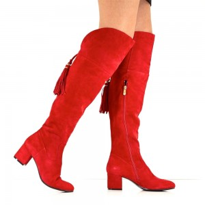Fashion Red Tassels Suede Long Boots Chunky Heels Over-the-knee Boots