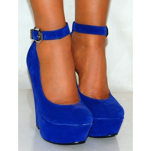 Fashion Royal Blue Wedge Heels Suede Ankle Strap Pumps for Women