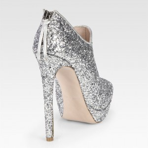 Fashion Silver Glitter Stiletto Boots Stiletto Platform Ankle Booties