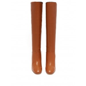Fashion Tan Chunky Heel Boots Knee-high Boots