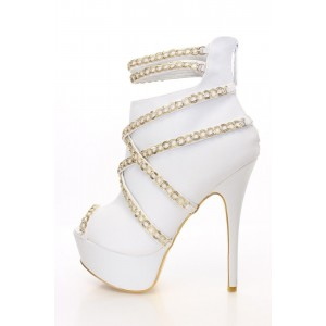 Fashion Women's White Metal Chain Platform Boots Peep Toe Ankle Boots