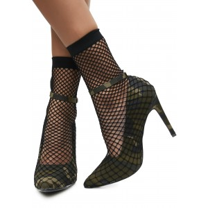 Fatigues Ankle Strap Heels Pointy Toe Sitletto Heels with Mesh
