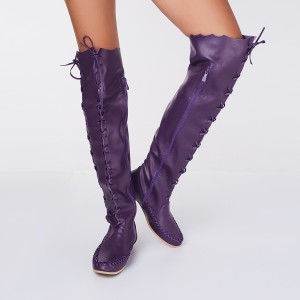 Purple Knee Boots Round Toe Flat Comfortable Strappy Boots for Women