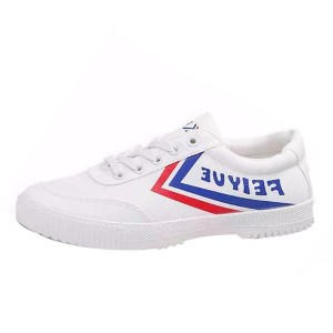 Fei Yue White Lace Up Sneakers with Letters