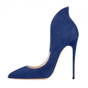 Blue Suede Shoes Stiletto Heel Pumps Pointy Toe Office Shoes